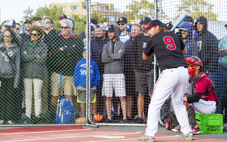 Victoria BC Canada Aug 23 17: Unidentified players on the Home Run Derby at Ogden Point Kicks Off Baseball Canada Senior Men's Nationals. A  public event for all ages where fans and players had fun.