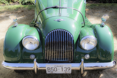 Victoria BC Canada Sept 10 2017 : The Annual Vintage British Cars Show  in the  Government House Garden, where the participants line up and show their restoration masterpieces from the era of the classic British cars.