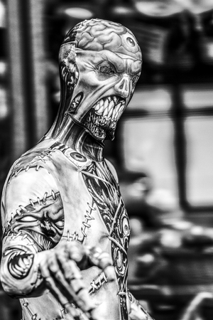 VICTORIA CANADA OCT 7 2016: People in costumes are on the Zombies walk in Victoria down town during the annual Zombie Walk .