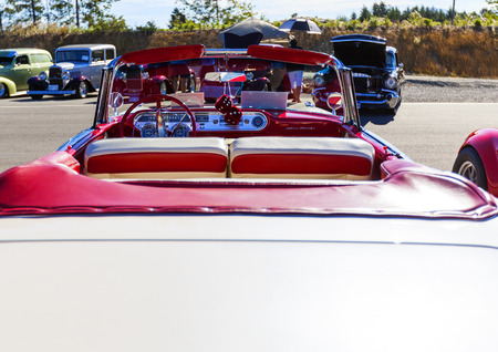 Victoria BC  Canada Aug 27 2017 :  Exotic import motorcars are on display at the Annual Vancouver Island Motor Gathering. These domestic are all fully restored for the line up.