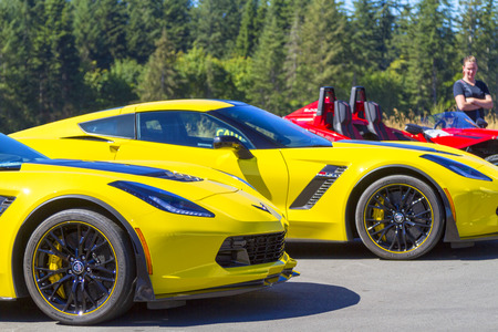 Victoria BC Canada Aug 27 2017 :  Exotic import motorcars are on display at the Annual Vancouver Island Motor Gathering. These Corvettes are all fully restored for the line up. Editorial