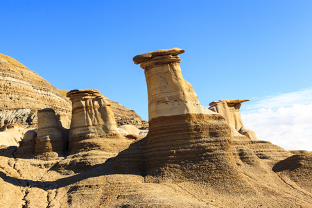 Drumheller badlands at the Dinosaur Provincial Park in Alberta, where rich deposits of fossils and dinosaur bones have been found.