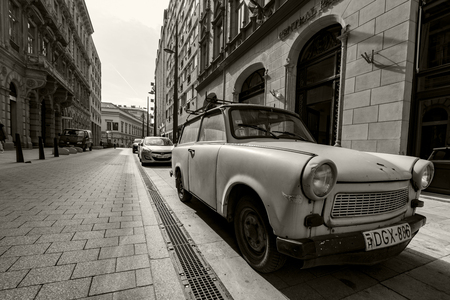 Budapest, Hungary - Apr 26, 2018: The famous peoples car Trabant parking in Budapest down town. Now days its a rarity. Editorial