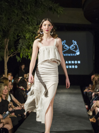 Victoria Canada - February 25 2017: Models are on the runway at the premier of the  Victoria Fashion Week ..on the Runway.. fashion show. Fantastic designs and great models are on the program.