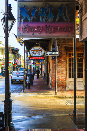 NEW ORLEANS, LOUISIANA USA - JAN 22 2016: Historic building in the French Quarter in New Orleans, USA. The city is buzzing with entertainment.  Tourism provides a large source of revenue after the 2005 devastation of Hurricane Katrina.