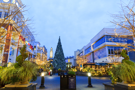 VICTORIA CANADA DEC 19 2016: The Uptown decorated for Christmas. People are shopping in Uptown. Victorias charm and beauty has a lot to offer for any world traveler - especially at Christmas.