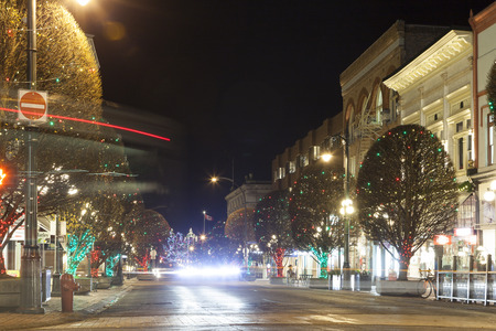 VICTORIA CANADA DEC 20 2016: The City Decorated for Christmas. People are shopping in downtown. Victorias charm and beauty has a lot to offer to any world traveler. Editorial