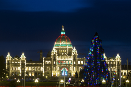 VICTORIA CANADA DEC 1 2016: The City Decorated for Christmas. People are shopping in downtown. Victorias charm and beauty has a lot to offer for any world traveler - especially at Christmas.