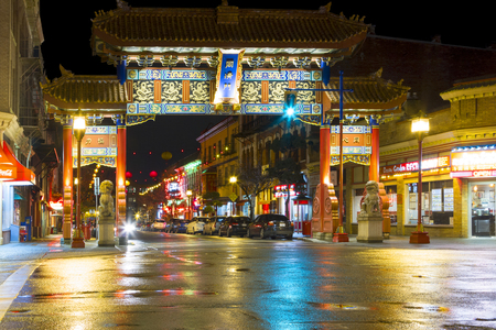 VICTORIA, BC - CANADA NOV 24 2016: Chinatown at night in Victoria, British Columbia is the oldest in Canada. Its a landmark in Victorias Old Town District and National Historic Site of Canada. Editorial