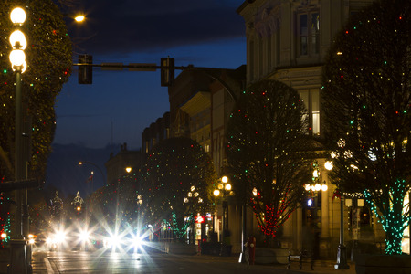 VICTORIA CANADA DEC 1 2016: The City Decorated for Christmas. People are shopping in downtown. Victorias charm and beauty has a lot to offer to any world traveler.