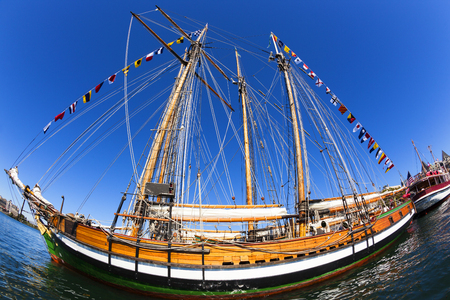 VICTORIA BC CANADA SEPT 2 2017: Vintage boats are docked at the Victoria Classic Boat Festival. These vintage boats are the showcase of the 3 days annual event.