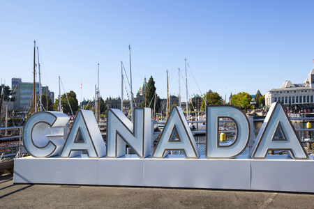 VICTORIA B.C. CANADA SEPT 2 2017: Vintage boats are docked at the Victoria Classic Boat Festival. These vintage boats are the showcase of the 3 days annual event.