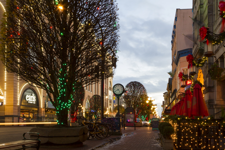Victoria British Columbia Canada December 2 2017: The city is decorated for Christmas. Editorial