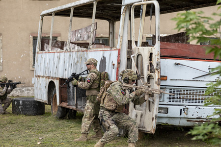 Nagyatad Hungary Sept 23 2018: Hungarian special military units during an Urban Warfare Exercise. This was an open event for public during the Hungarian Military Days
