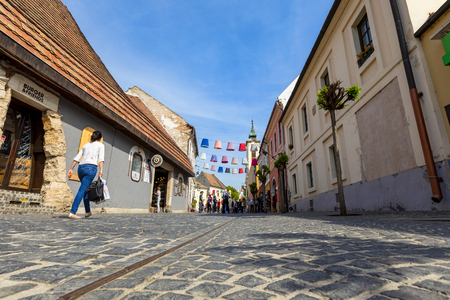 Hungary Szentendre Apr. 25. 2018: Tourists are walking on the streets of Szentendre. Street view. Life of town. City with people. Szentendre is a small but bustling town near Budapest, Editorial