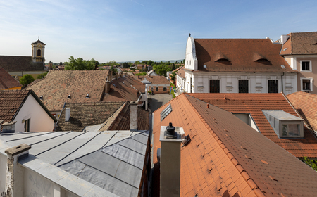 Annunciation church and red roofs of old houses, Szentendre, Hungary.