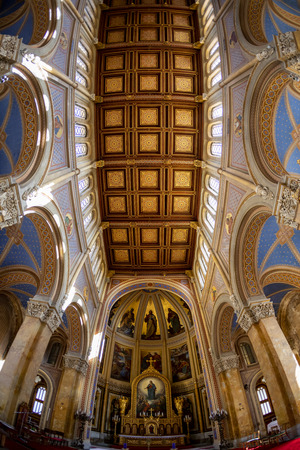 Fot - Hungary Mar 4 2019: Interior of Fot Cathedral, was design by Ybl Miklos, is one of the most impressive church in rural Hungary.