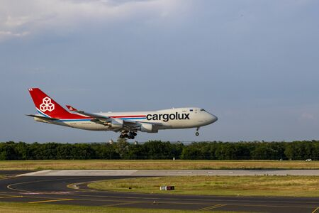 Budapest Hungary July 18 2019: Cargolux cargo jet Boeing 747 LX-LCL just landing at Budapest International airport.
