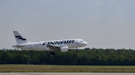 Budapest Hungary July 25 2019: Finnair Airline Embraer 190 OH-LVL just landing at Budapest International airport.