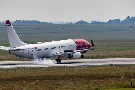 Budapest Hungary Jul 14 2019: Norwegian Jet Airline Boeing 737 just landed in Budapest International airport.