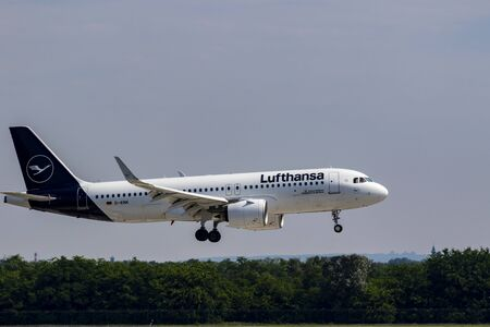 Budapest Hungary Jul 26 2019: Lufthansa Airline Airbus 321 D-AINK just landing at Budapest International airport. Editorial