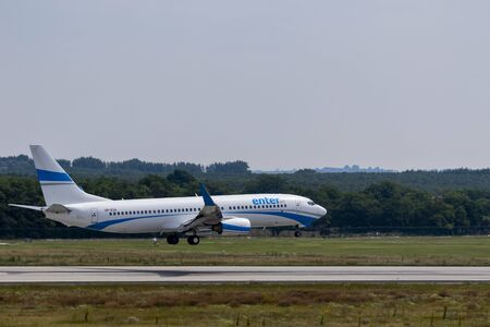 Budapest Hungary Jul 14 2019: Enter Air Airline Boeing 737 SP-ESA just landing at Budapest International airport.