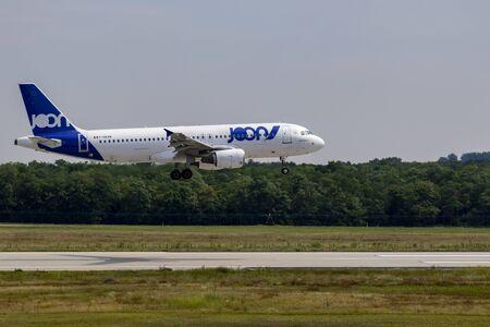 Budapest Hungary Jul 14 2019: LOT Airline Boeing 777 F-JKXN just landing at Budapest International airport.
