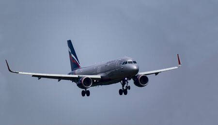 Budapest Hungary July 25 2019: Aeroflot Airline Airbus 319 EI-FRG just landing at Budapest International airport.