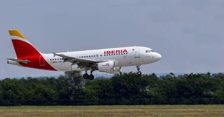 Budapest Hungary Jul 14 2019: Iberia Airline Airbus 319 EC-JAZ just landing at Budapest International airport.