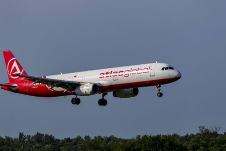 Budapest Hungary July 18 2019: Atlas Global Airline Airbus 321 TC-ETV just landing at Budapest International airport.