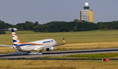 Budapest Hungary July 25 2019: Smartwing Airline Boeing 737 OK-TVX just landing at Budapest International airport. Editorial