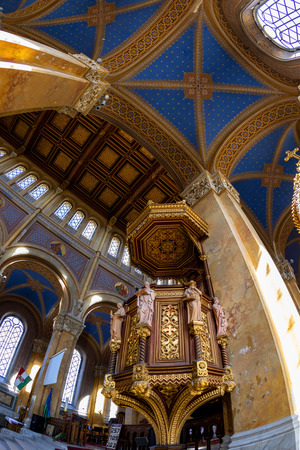 Interior of Fot Cathedral, was design by Ybl Miklos, is one of the most impressive church in rural Hungary. 新聞圖片