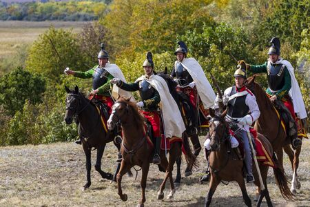 Pákozd Hungary Sept 29, 2019: Unidentified reenactors fighting the historic war of Independence of 1848 in Hungary. That battle was won -however, the freedom was short-lived. Stok Fotoğraf - 133786745