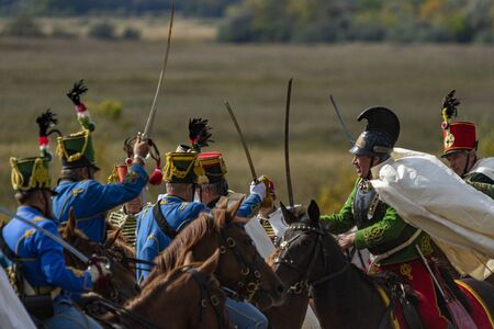 Pákozd Hungary Sept 29, 2019: Unidentified reenactors fighting the historic war of Independence of 1848 in Hungary. That battle was won -however, the freedom was short-lived. Editöryel