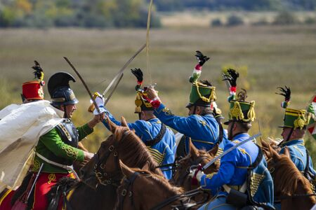 Pákozd Hungary Sept 29, 2019: Unidentified reenactors fighting the historic war of Independence of 1848 in Hungary. That battle was won -however, the freedom was short-lived. Stok Fotoğraf - 133786747