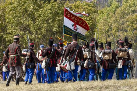 Pákozd Hungary Sept 29, 2019: Unidentified reenactors fighting the historic war of Independence of 1848 in Hungary. That battle was won -however, the freedom was short-lived. Stok Fotoğraf - 133786754