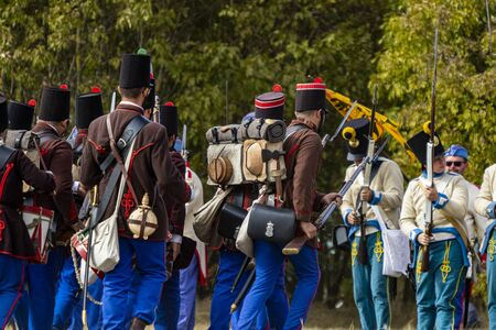 Pákozd Hungary Sept 29, 2019: Unidentified reenactors fighting the historic war of Independence of 1848 in Hungary. That battle was won -however, the freedom was short-lived. Stok Fotoğraf - 133786758