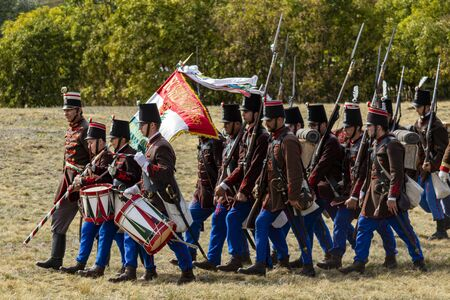 Pákozd Hungary Sept 29, 2019: Unidentified reenactors fighting the historic war of Independence of 1848 in Hungary. That battle was won -however, the freedom was short-lived. Editorial