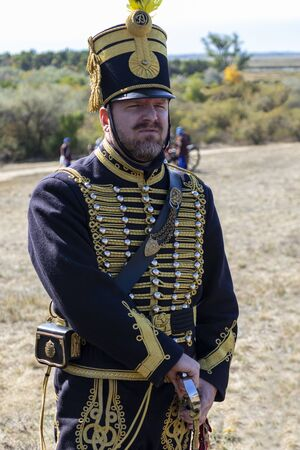 Pákozd Hungary Sept 29, 2019: Hungarian army officer. Unidentified reenactors fighting the historic war of Independence of 1848 in Hungary. That battle was won -however, the freedom was short-lived.