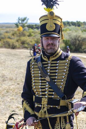 Pákozd Hungary Sept 29, 2019: Hungarian army officer. Unidentified reenactors fighting the historic war of Independence of 1848 in Hungary. That battle was won -however, the freedom was short-lived. Stok Fotoğraf - 133786735