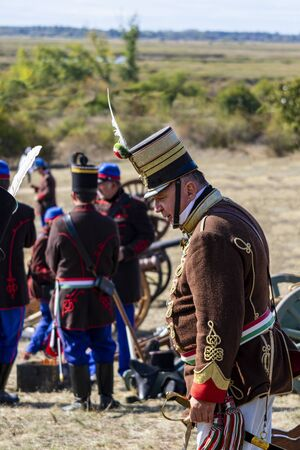 Pákozd Hungary Sept 29, 2019: Hungarian army officer. Unidentified reenactors fighting the historic war of Independence of 1848 in Hungary. That battle was won -however, the freedom was short-lived. Stok Fotoğraf - 133786737