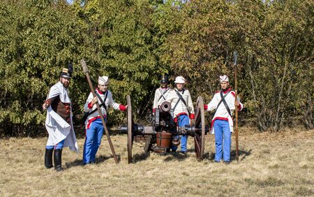 Pákozd Hungary Sept 29, 2019: Unidentified reenactors fighting the historic war of Independence of 1848 in Hungary. That battle was won -however, the freedom was short-lived. Stok Fotoğraf - 133786738