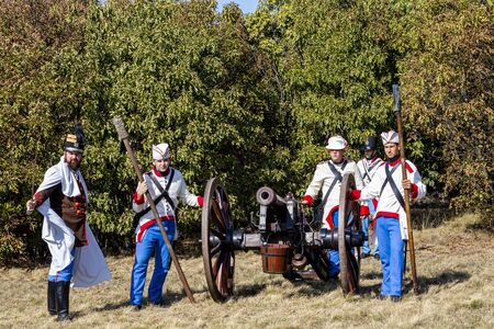 Pákozd Hungary Sept 29, 2019: Unidentified reenactors fighting the historic war of Independence of 1848 in Hungary. That battle was won -however, the freedom was short-lived. Stok Fotoğraf - 133786739