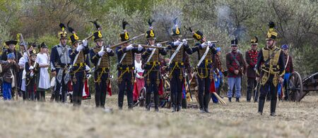 Pákozd Hungary Sept 29, 2019: Unidentified reenactors fighting the historic war of Independence of 1848 in Hungary. That battle was won -however, the freedom was short-lived. Stok Fotoğraf - 133787005
