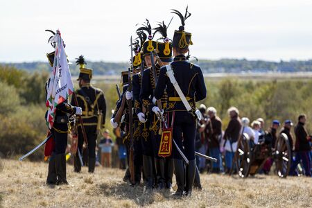 Pákozd Hungary Sept 29, 2019: Unidentified reenactors fighting the historic war of Independence of 1848 in Hungary. That battle was won -however, the freedom was short-lived. Stok Fotoğraf - 133787014