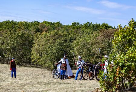 Pákozd Hungary Sept 29, 2019: Unidentified reenactors fighting the historic war of Independence of 1848 in Hungary. That battle was won -however, the freedom was short-lived. Stok Fotoğraf - 133786979