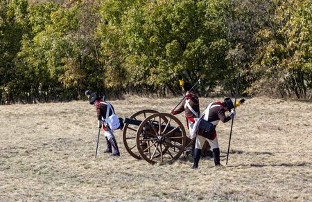 Pákozd Hungary Sept 29, 2019: Unidentified reenactors fighting the historic war of Independence of 1848 in Hungary. That battle was won -however, the freedom was short-lived. Stok Fotoğraf - 133786983