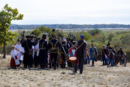 Pákozd Hungary Sept 29, 2019: Unidentified reenactors fighting the historic war of Independence of 1848 in Hungary. That battle was won -however, the freedom was short-lived. Stok Fotoğraf - 133786984