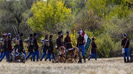 Pákozd Hungary Sept 29, 2019: Unidentified reenactors fighting the historic war of Independence of 1848 in Hungary. That battle was won -however, the freedom was short-lived. Stok Fotoğraf - 133786990