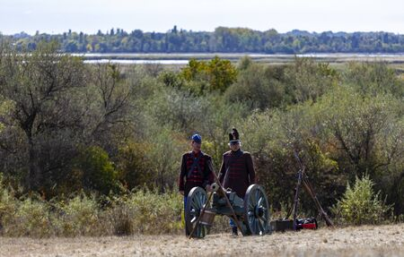 Pákozd Hungary Sept 29, 2019: Unidentified reenactors fighting the historic war of Independence of 1848 in Hungary. That battle was won -however, the freedom was short-lived. Stok Fotoğraf - 133786991